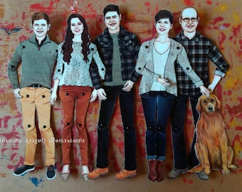 Five Custom Articulated Paper Dolls,Personalized,Made to Order,Handmade,One of a kind