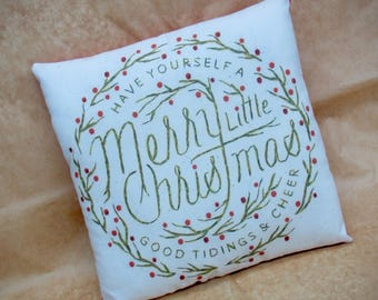 Christmas Pillow | Christmas decoration | Country Christmas decor | Handmade Christmas | Primitive Christmas PIllow | Holiday Farmhouse