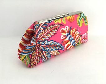 Pink clutch, fuchsia clutch, tropical clutch, summer clutch, resort clutch, preppy clutch in Magenta Jacaranda China Seas Quadrille