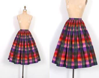 Vintage 1950s Skirt / 50s Madras Plaid Cotton Skirt / Full Skirt ( XS extra small )