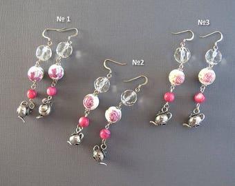 PInk 5 O'clock Tea Dangle Earrings Long English Tea Porcelain Crystal Glass Bead Teapot Kettle Charm Boho Chic