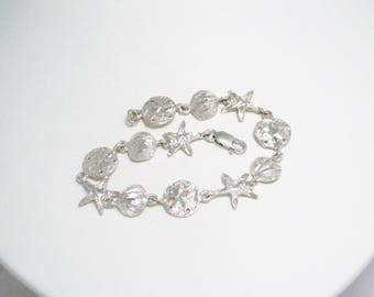 Sterling Silver charm Bracelet nautical ocean life starfish sand dollar scallop shell beach theme size 7.5 inch vintage fine jewelry