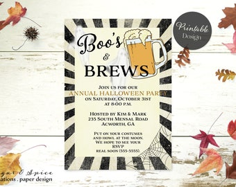 Halloween Invitation Printable, Adult Halloween Party Invitation, Boo's and Brews Party Invitation, Halloween Invitations Beer