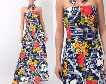 Vintage Choker Collar Dress 1960s Strapless Floral Dress Navy Blue Painterly Bold Floral Print Maxi Dress 60s Floor Length Evening M E101031