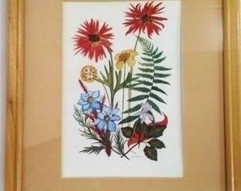 Vintage, floral print, lithograph, wood framed, art, signed picture