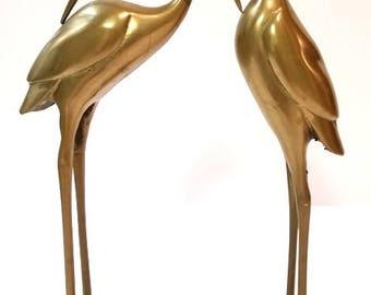 Mid Century Brass Crane Egret Heron Stork Birds Metal Sculpture FIGURINES