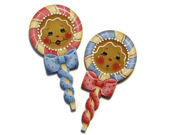 Ginger Lollipop Ornament or Fridge Magnet, Handpainted Wood Gingerbread Refrigerator Magnet, Hand Painted Ginger, Tole Painting