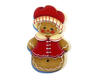 Ginger Dressed in Red Ornament or Fridge Magnet, Handpainted Wood, Hand Painted Gingerbread Ornament, Tole Decorative Painting