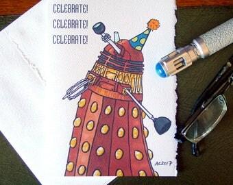 Doctor Who Birthday Card - Dalek Dancing Drunk - Celebrate