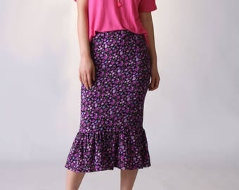 NEW  Ruffle Hem Midi Skirt, Ruffle Skirt, Pencil Skirt, Floral Skirt, Flounce Skirt, Summer Skirt, Purple Skirt