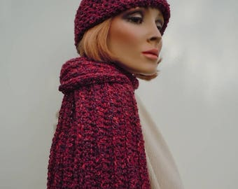 Dark Red Hat Scarf Set, Hat and Scarf Set, Red Crochet Set, Winter Hat and Scarf, Cold Weather Set