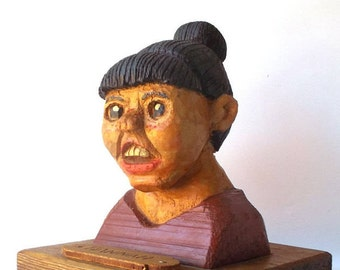 vintage 80s folkart carved wood painted creepy odd woman female face head statue figure hannah artwork caricature folk art oddities weird