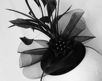 Black and Silver Vintage Victorian Gothic Style Crinoline Bow Feather & Rhinestone Wedding Fascinator Mini Hat -  Made to Order