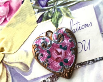 Pink heart Pendant, Vintage Guilloche Heart Pendant or charm, Enamel Heart, Guilloche charm, vintagerosefindings, Valentines day, #1297D