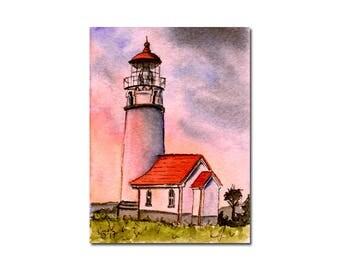 LIGHTHOUSE 5 watercolor seascape sunset painting Sandrine Curtiss ORIGINAL art ACEO