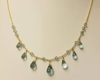 Estate 14kt Yellow Gold Briolette Aquamarine Necklace.