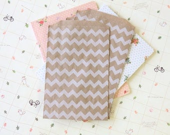 Chevron Kraft Brown Middy Bitty Bags medium paper bags