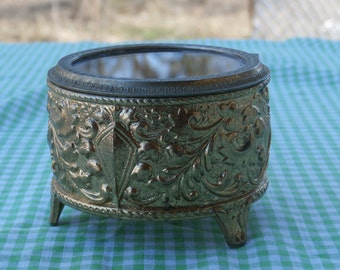 Ornate Metal and Glass Jewelry Cask Pretty Vintage Footed Trinket Box