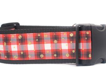Perfectly Plaid Dog Collar - 2 inch wide for big dogs - buckle or martingale - buffalo plaid collar - rustic dog collar - boy dog collar