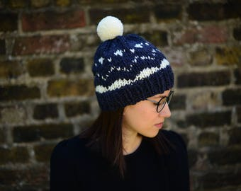 Women's Fair Isle Beanie Hat, Knitted Women's Hat, Icelandic Pompom Hat, Hat for Women, Hat For Men, Unisex Hat, Teen Hat, Ski Hat
