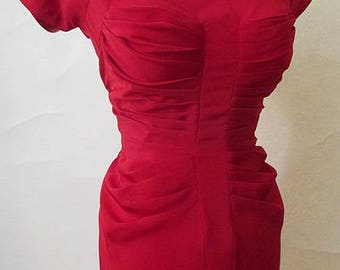"Stunning Lipstick Red 1950's Designer Cocktail Party Dress by ""Emil "" of California Pinup girl Vintage Hollywood chic Size medium"