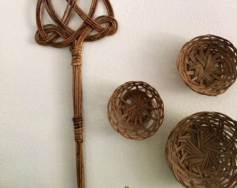 Vintage Rug Beater Twisted Cane Rattan Bamboo