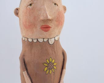 Folk art paper mache painted doll sculpture with antiqued crackle finish #4