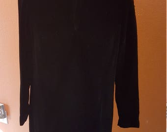 Glamorous Vintage Black Long Sleeve Velvet Dress