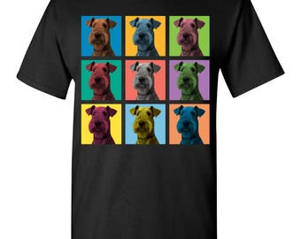 Airedale Terrier Dog Pop-Blocks T-Shirt Tee - Men, Women Ladies, Youth Kids, Long Sleeve