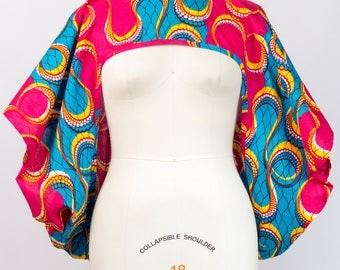 African Print Shrug Pink and Aqua- One Size