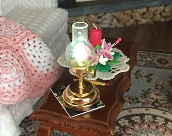 Miniature Hurricane Lamp, Working LED Lamp With Battery, Dollhouse Miniature, 1:12 Scale, Dollhouse Light, Mini Lamp, Working Lamp