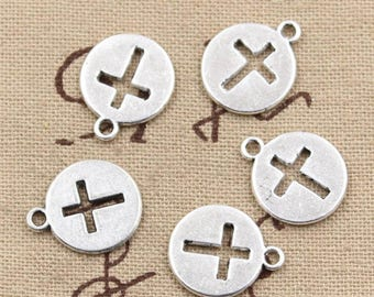 6 Round Cross Charms: Antique Silver Finish Charms for Bracelets and Necklace - IC004