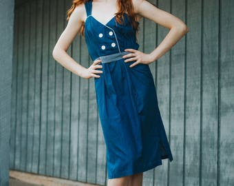 Vintage 1960's Handmade Blue and White Dress Nautical Style with Large White Buttons
