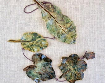 Four Clay Leaves Wall Hanging - Made with Real Leaves - Decorative Leaf String with Metal Bell - Leaf Imprint Patterns - Hollyhock Leaf
