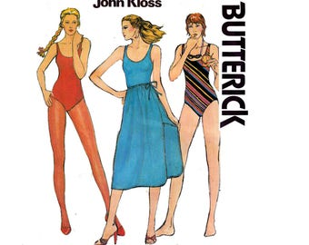 Butterick 6539 JOHN KLOSS Womens Sundress & Swimsuit 70s Vintage Sewing Pattern Size 14 Bust 36 inches UNCUT Factory Folds