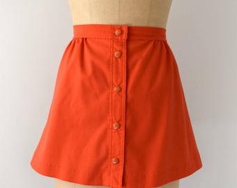 Vintage 1960s Skirt - 60s Coral Cotton Mini Skirt