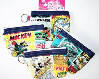 Disney Mickey Mouse, Comic Covers, Coin Purse,Quilted Inside/Out,Key Clip,Handcrafted Zippered Pouch, Donald Duck and Friends