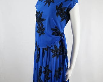 Made in Australia By Stitches Plus Gold Label Vintage 70s  80s Does 20s Blue and Black  Print Flapper Dress Great Gatsby Style