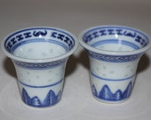 Vintage Saki Glasses in Porcelain with semi transparent dots Blue and White with designs Perfect condition