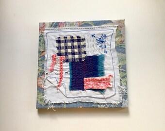 Small Art Fabric Collage - Fibre Art Stitch Meditation - Hand Stitching - Slow Stitch on Antique Handkerchief