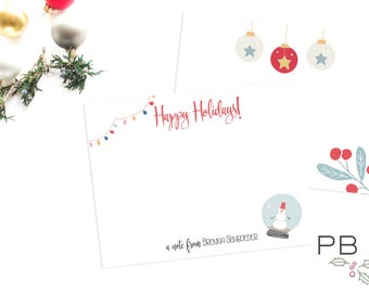 Holiday Notecards Personalized | Christmas Card, Thank you, watercolor, snowman, ornaments, christmas lights, nordic, simple
