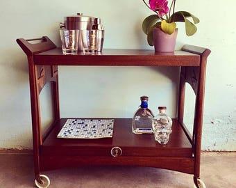 MID CENTURY MODERN Convertable Bar/Tea Cart by Brown Saltman (Los Angeles)