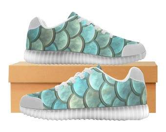 Mermaid LED Light Up Shoes | Boys Girls Womens Sizes | High Stretch Upper | EVA + Mesh Fabric Insole | 7 Colors | Bold Street Artist Design