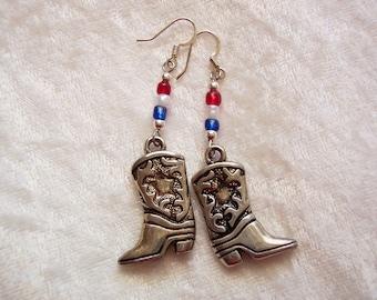 4th of July Earrings, Cowgirl Boot Earrings, Independence Day Earrings, Rodeo Earrings, Red White Blue Earrings, Silver Boot Charm Earrings