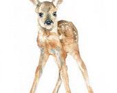 Watercolor Deer Fawn Print 24x36 Large Fine Art Poster - Baby Deer Painting