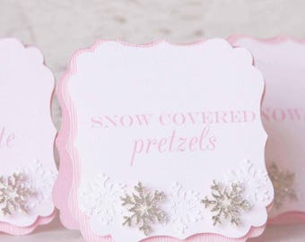 winter 1st birthday - candy buffet tags - buffet table decorations - birthday food sign - onederland for girl - food tent cards - snowflake