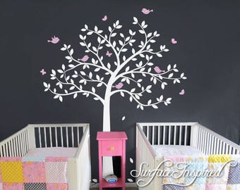 Tree Wall Decal Nursery Large Tree wall decal Wall Mural Stickers Nursery Tree and Birds Butterflies Wall Art Tattoo Nature Wall Decals