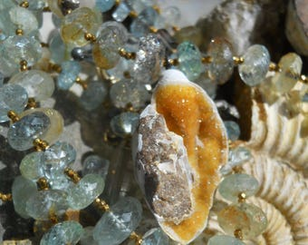 Low Tide            Cambrian  Fossil Shell Beryl Aquamarine Gemstone Necklace