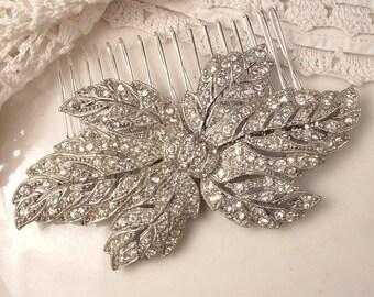ORIGINAL Art Nouveau/Art Deco Hair Comb OR Sash Brooch, Paste Rhinestone Large Vintage Leaf Bridal Clip, 1920 1930 Wedding Hairpiece Rustic