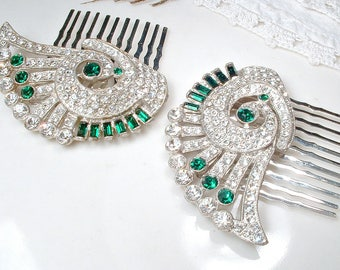 Antique Art Deco Emerald Hair Comb (1 OR PAIR), 1920s - 1930s Green Rhinestone Vintage Wedding Dress Clips to GATSBY Bridal Hair Accessories
